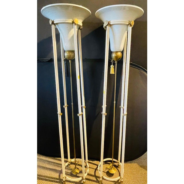 Mid-Century Modern Pair of Mid-Century Modern Bronze Floor Torchiere Lamps With Porcelain Globes For Sale - Image 3 of 12