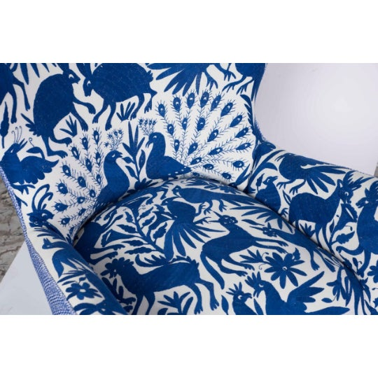 Fabric 1960s Boho Chic Blue and White Embroidered Lounge Chair For Sale - Image 7 of 11