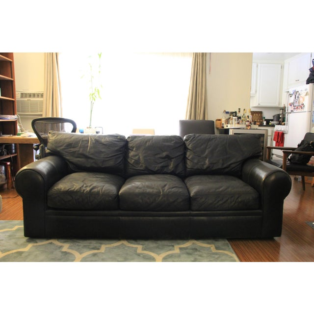 Maurice Villency Black Leather Sofa purchased from Maurice Villency in NYC. Soft, supple leather, goose down filled...