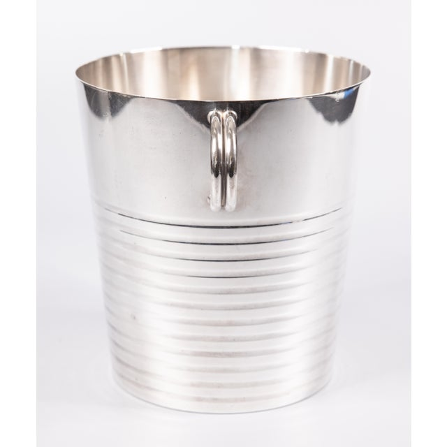 A fabulous 1940s Art Deco Christofle silverplate champagne bucket or wine cooler made in France. Hallmarks on reverse....