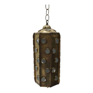 Brass Hanging Lantern Light Fixture For Sale