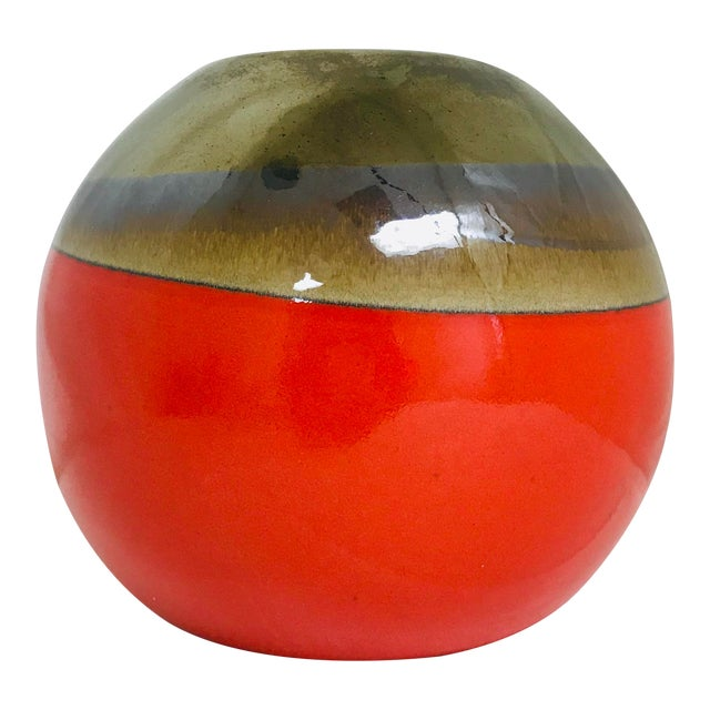 Contemporary Orange Hand Made Round Table Vase For Sale