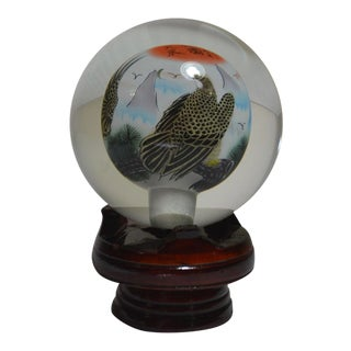 Chinese Reverse Painting Glass Globe Orb Paperweight on Stand For Sale