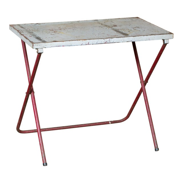 French Industrial Iron Folding Table with Red Base, circa 1920 For Sale