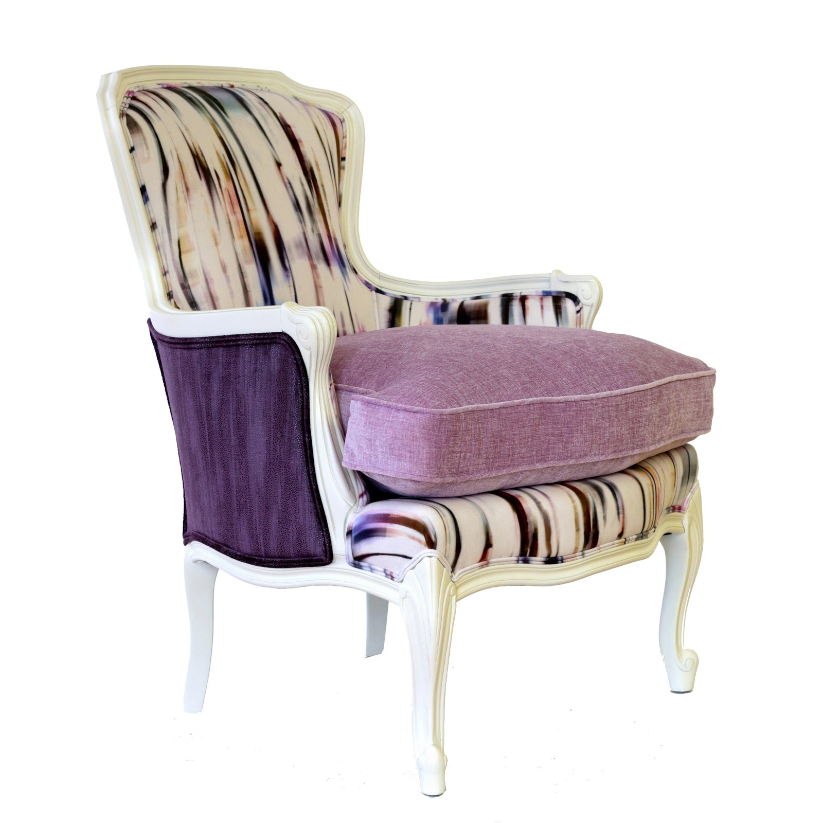 "French Bergere Upholstered ""Purple Rain"" Armchair 