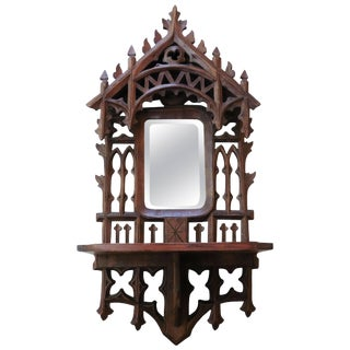 1900s Neo Gothic Wood Carved Shelf For Sale
