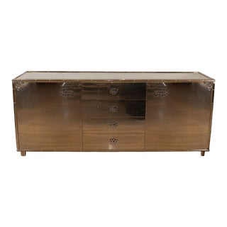 Rectangular Stainless Steel Sideboard For Sale