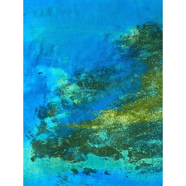 """Abstract Original 1980s Gouache Painting """"Blue Green Pt. 5"""" For Sale - Image 3 of 6"""