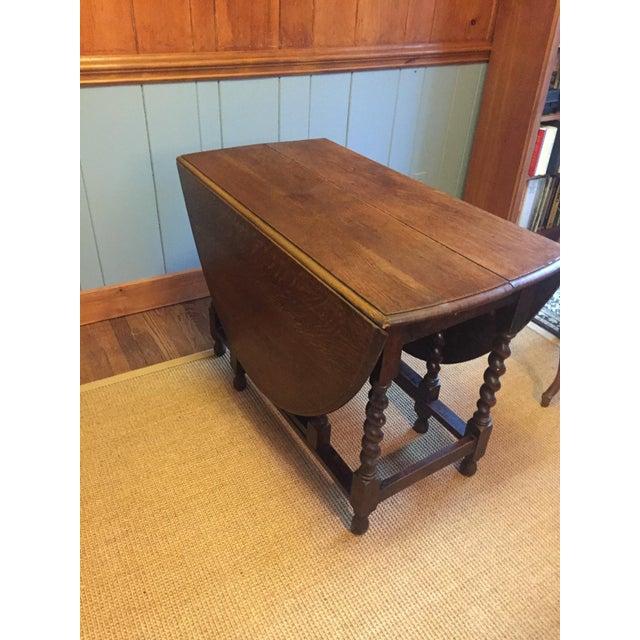 Wood Barley Twist Leg, Drop Leaf Oval Dark Oak Dining Table For Sale - Image 7 of 13