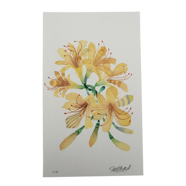 """Yellow Spider Lilies"" Original Watercolor Painting - Image 1 of 3"