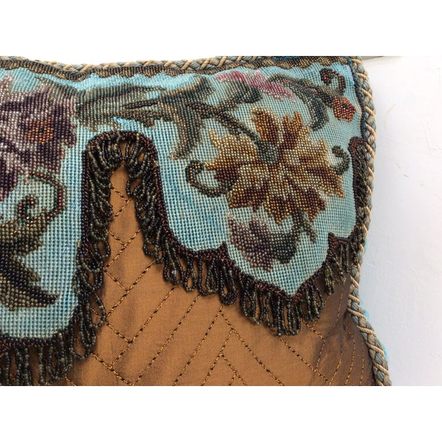 Antique Beadwork Textile Pillow For Sale - Image 10 of 11
