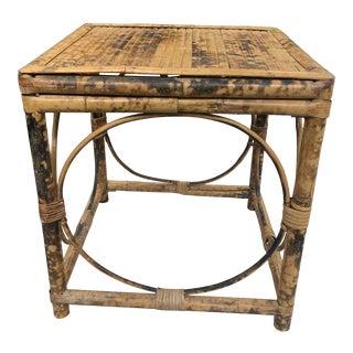 Vintage 1970s Tortoiseshell Bamboo Rattan Cube Table For Sale
