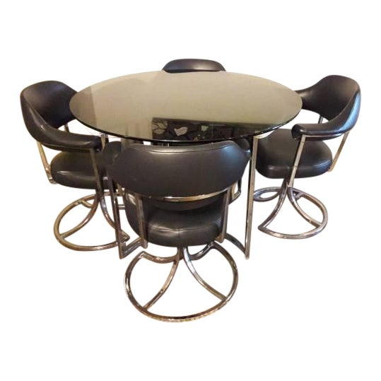 1970s Milo Baughman Style Dining Set - Image 1 of 3