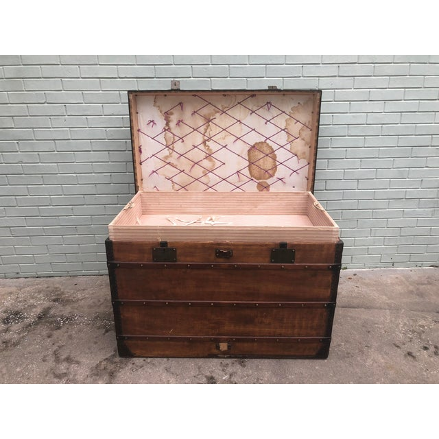 This Louis Vuitton trunk is an incredible collectors piece. The previous has taken off the original Louis Vuitton canvas...