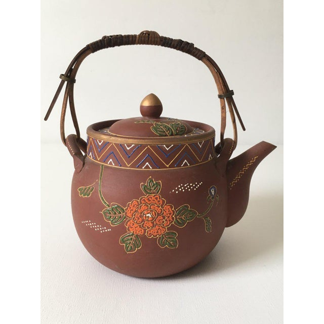Folk Art Asian Floral Enameled Clay Teapot For Sale - Image 3 of 8