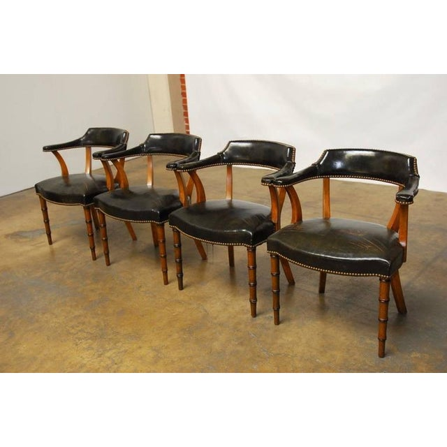 Barnard & Simonds Leather Library Chairs - Set of 4 - Image 9 of 10