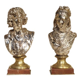 Pair of Small Antique French Silvered Bronze Busts on Marble Bases, Circa 1890 For Sale