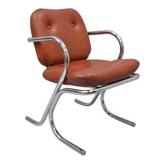 1960s Mid-Century Modern Tubular Chrome Vinyl Armchair For Sale