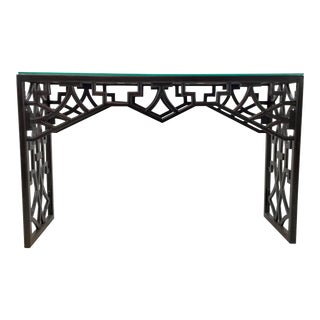 Currey & Co. Asian Modern Carved Wood Nador Black Console Table For Sale