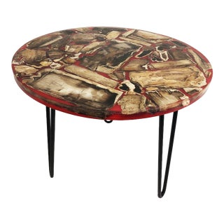 1960s Brutalist Red Resin Table For Sale