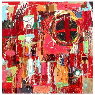 "William P. Montgomery Abstract Mixed Media Painting ""Rocket Science #4"" on Wood For Sale"