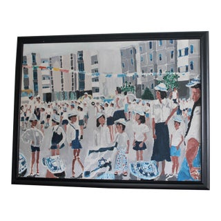 """""""That's Me in the Middle"""" Acrylic Painting on Canvas of Children and Israel's Independence Day For Sale"""