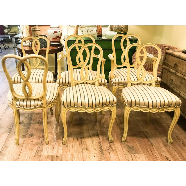 Set of 6 Mid Century Hollywood Regency Ribbon Back Dining Chairs - Image 7 of 12