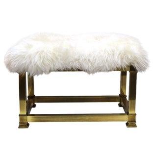 Mid Century Modern Brass & Sheepskin Bench For Sale
