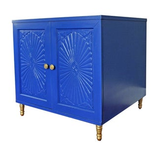 Hollywood Regency Style Blue Cabinet For Sale