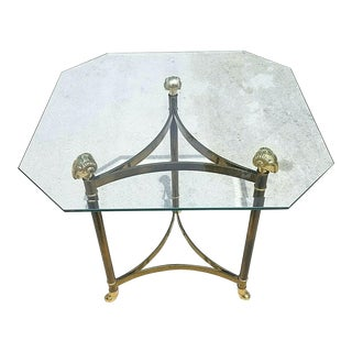 Maison Jansen Style Hollywood Regency Brass Rams Head Hoof Footed End Side Table For Sale