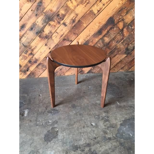 Custom Walnut Sculpted Legs Side Table For Sale - Image 4 of 7