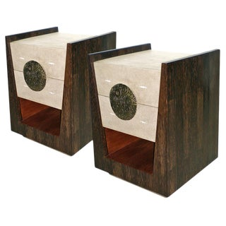 Lola Bedside Table in Cream Shagreen, Palm Wood & Brass by R&y Augousti For Sale