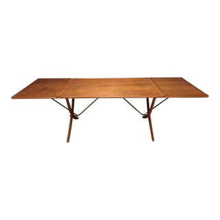 1960s Mid-Century Modern Hans Wegner Drop Leaf Oak/Teak Brass Table For Sale