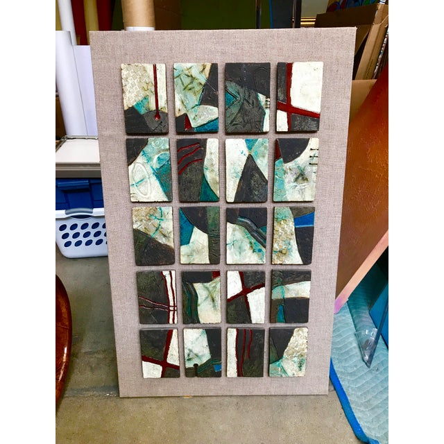 20 Unique Tiles Mounted as a Wall Sculpture For Sale - Image 10 of 10