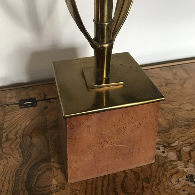 """Outstanding solid brass leaf lamp on wood base made by Stiffel, 1960. Measures 41"""" to socket and 50"""" to finial."""