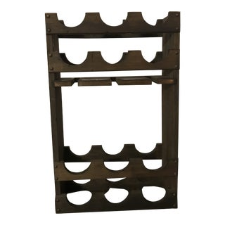 Mid Century Walnut 12 Bottle Wine Rack For Sale
