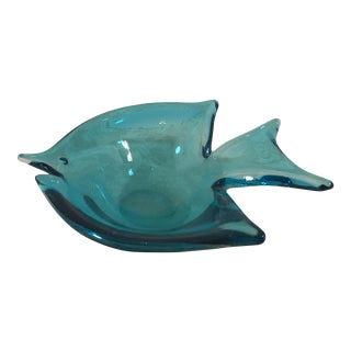 Vintage Blue Aquamarine Art Glass Fish Dish For Sale