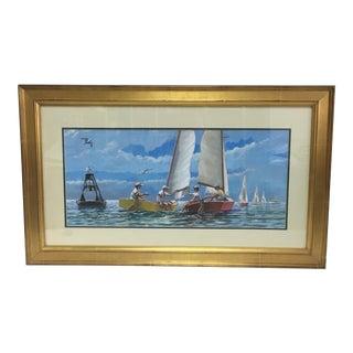 Children Sailing Watercolor Gouache For Sale