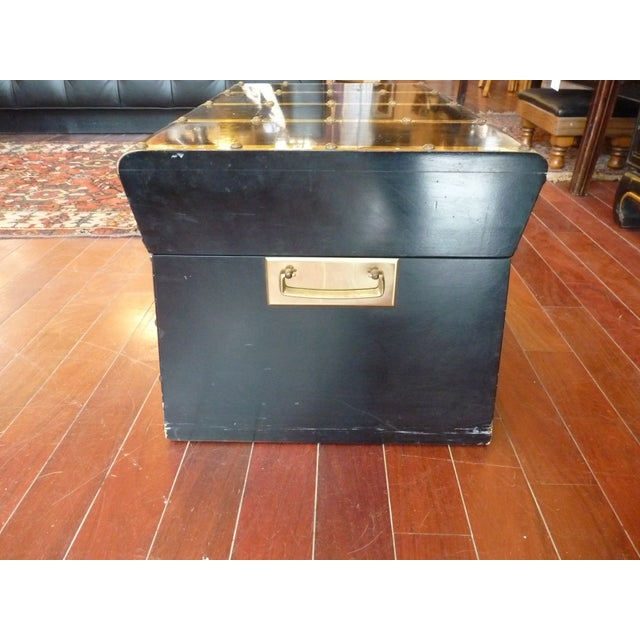 Black Lane Small Black Trunk with Brass Straps For Sale - Image 8 of 8