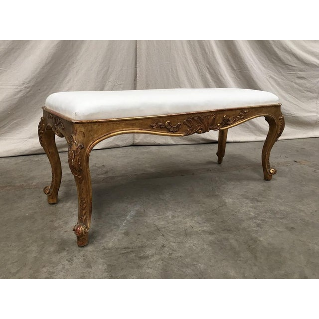 19th Century Italian Antique Upholstered Vanity Bench For Sale - Image 10 of 11