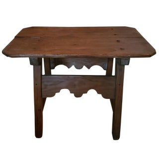 Antique Spanish Primitive Plank-Top Small Wooden Table For Sale