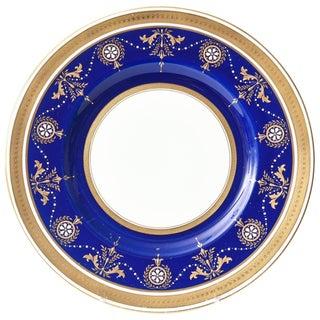 12 Antique Minton England Elaborate Cobalt Jewel and Gilt Encrusted Dinner Plate For Sale