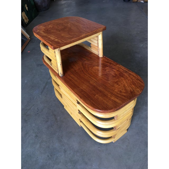 Brown Stacked Rattan Side Table With Cut Outs - a Pair For Sale - Image 8 of 9