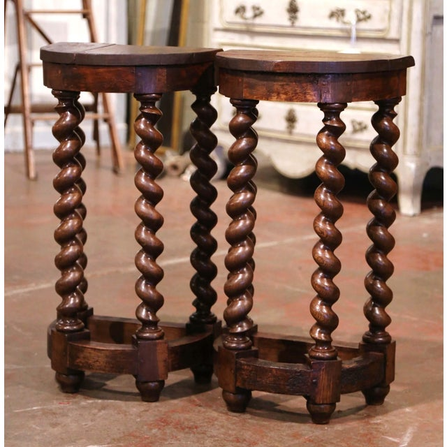 Mid-19th Century Louis XIII Oak Barley Twist Demilune Side Tables - a Pair For Sale - Image 9 of 9