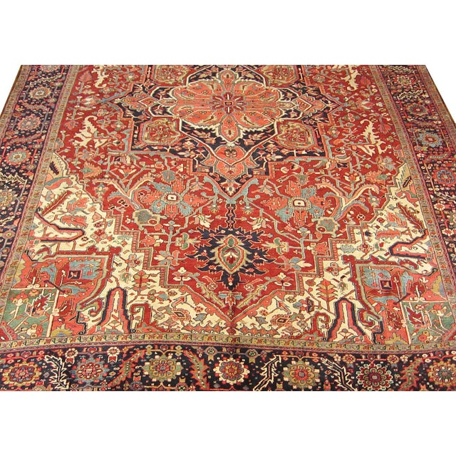1970s Semi Antique Persian Heriz Rug - 11′6″ × 14′8″ For Sale - Image 5 of 7