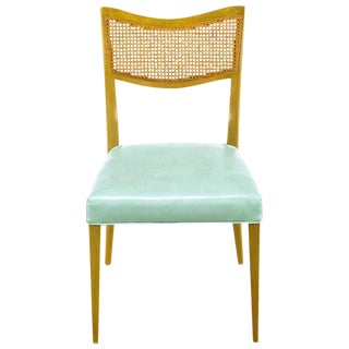 Harvey Probber Tiffany Blue Leather and Mahogany Side Chair For Sale