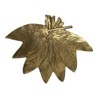 1950s Mid-Century Modern Virginia Metalcrafters Brass Sage Leaf Catchall/Tray For Sale