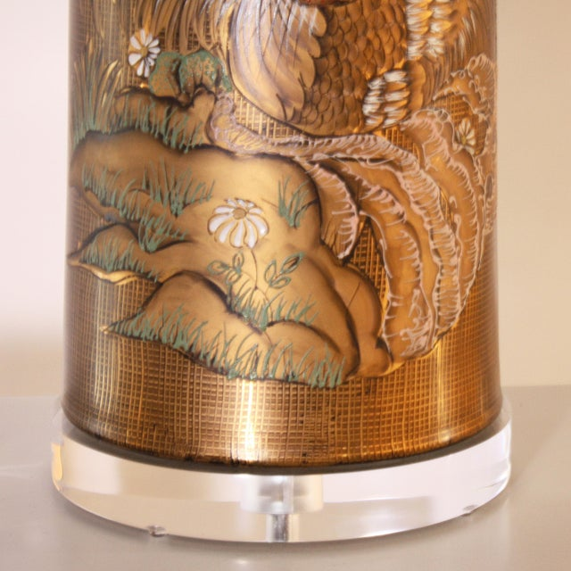 Mid-Century Modern Gold Marbro Styled Lamp With Hand Painted Rooster, C. 1960 For Sale - Image 3 of 6