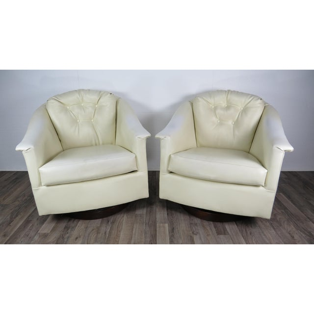 1970s Mid-Century Modern White Vinyl Swivel Chairs - a Pair For Sale - Image 13 of 13