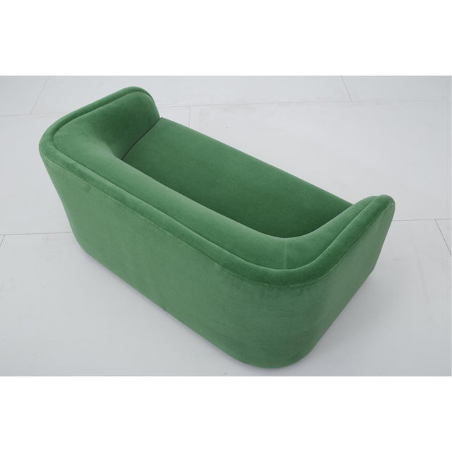 1990s Post Modern Barrel Back Settee in Green Mohair For Sale - Image 5 of 9